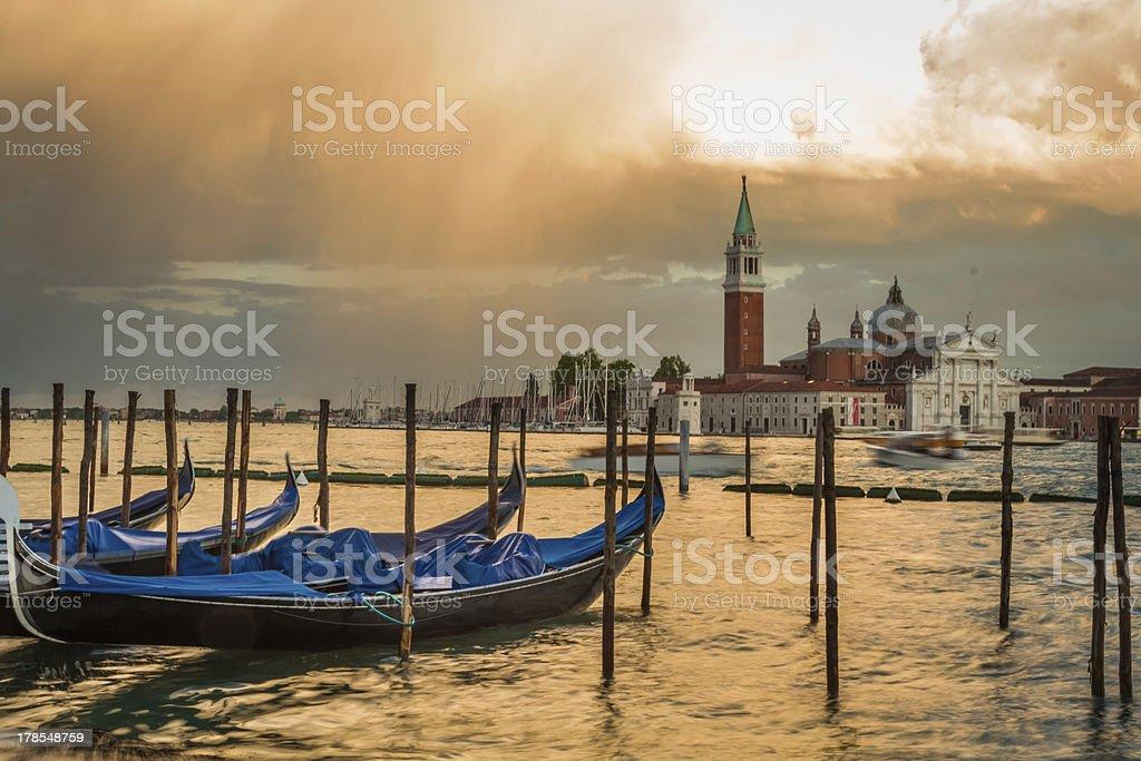 Gondola and San Giorgio Maggiore Church in sunset, Venice royalty-free stock photo
