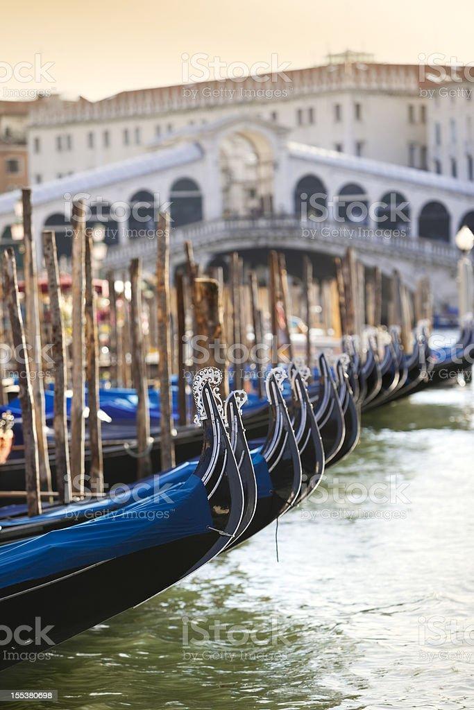 Gondola at Rialto Bridge Grand Canal Venice Italy stock photo