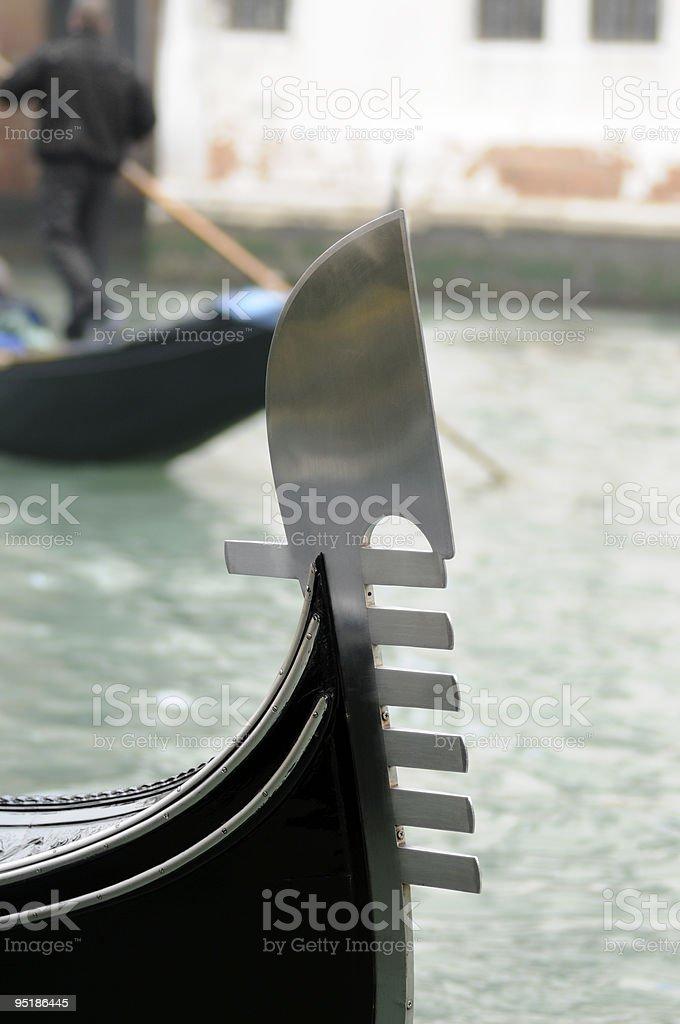 Gondola Detail on Canal Grande Venice, Italy royalty-free stock photo