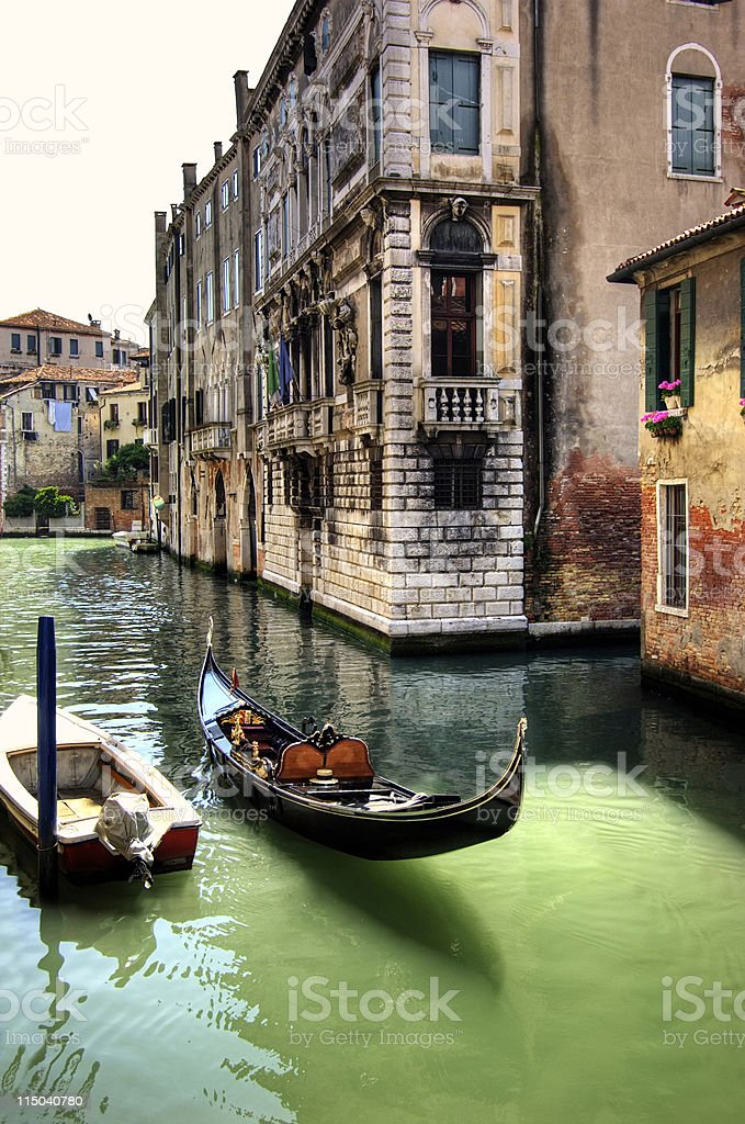 Gondola in Colorful canal Venice, Italy royalty-free stock photo