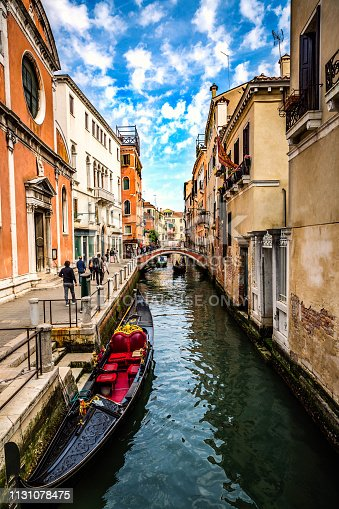 This pic shows Gondola in  grand canal of Venice with its rider and beautiful architecture. Gondola is main way of transporation in lagoon in venice city. This pic is taken in April 2017.