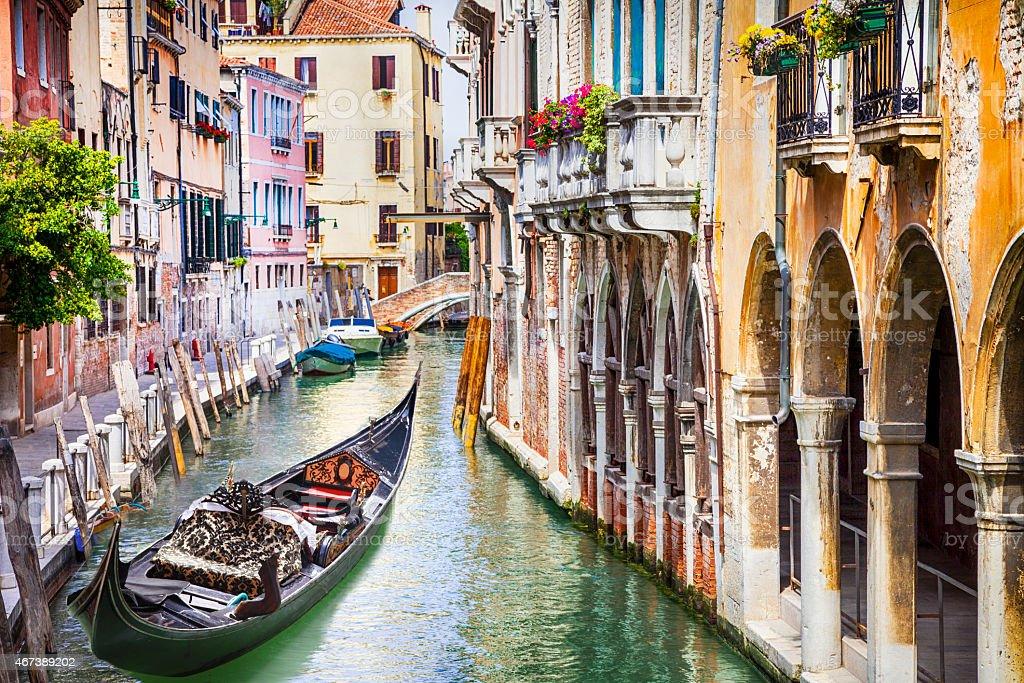 Gondola in colorful Venice, Italy stock photo