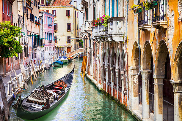 Gondola in colorful Venice, Italy Beautiful Romantic Venetian Scenery canal stock pictures, royalty-free photos & images