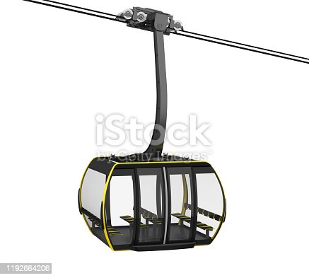 Gondola Lift Cable Car isolated on white background. 3D render