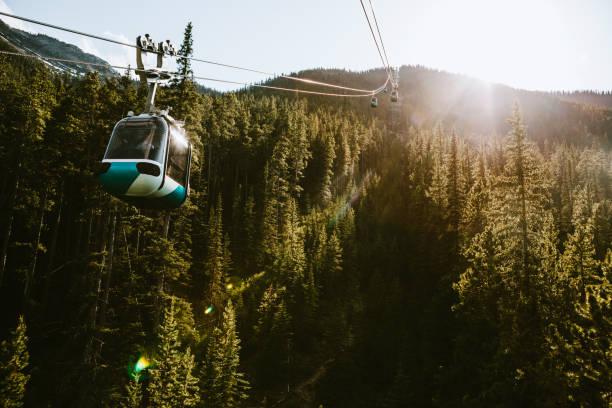 Gondola Lift Going Up Mountain in Banff Canada stock photo