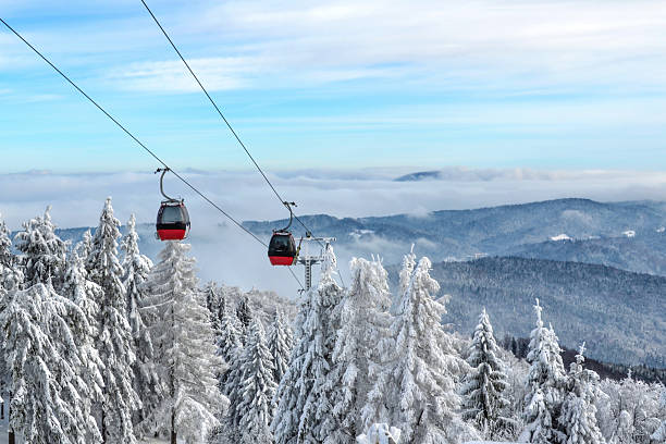 Gondola lift in a ski resort stock photo