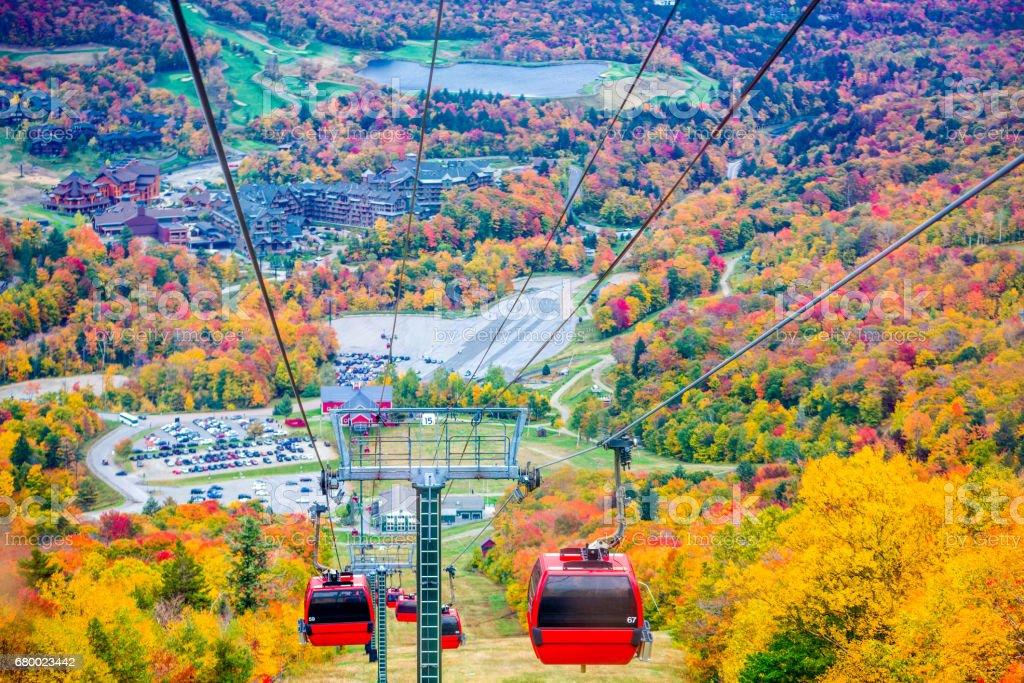 Gondola lift in the Stowe Mountain stock photo