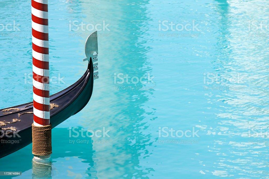 Gondola moored at Venetian Hotel in Las Vegas. stock photo