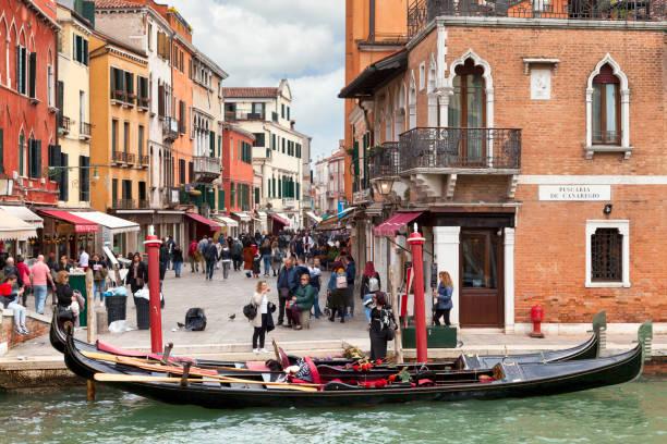 Gondola moored on Cannaregio Canal in Venice stock photo