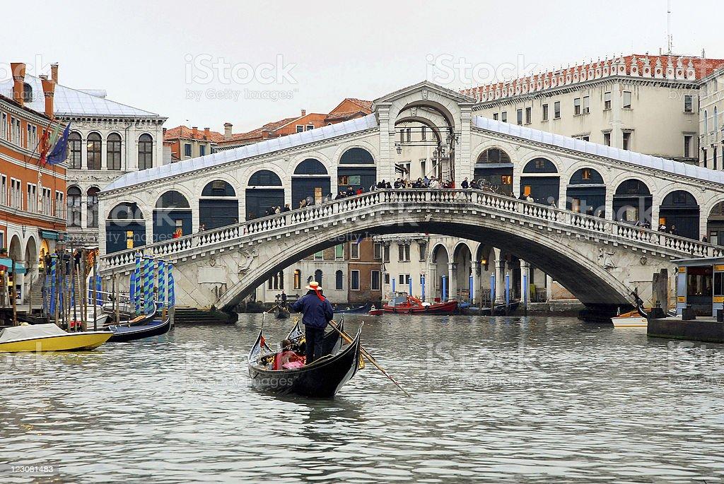Gondola near Rialto bridge. royalty-free stock photo