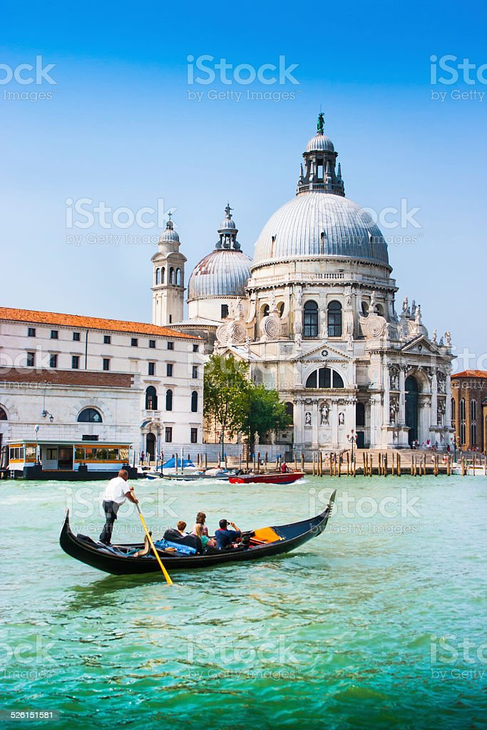 Gondola on Canal Grande, Venice, Italy stock photo