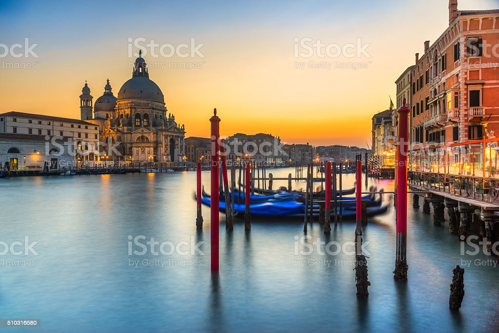 Gondola on Canal Grande, Venice. stock photo