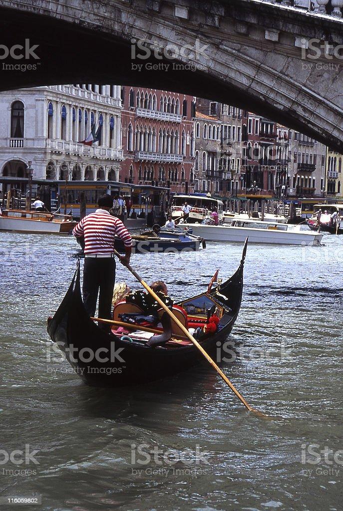 Gondola on Grand Canal. Venice. Italy royalty-free stock photo