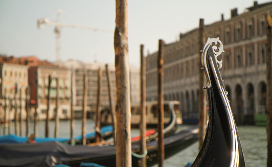 Gondola parked on the Grand Canal in Venice, Italy