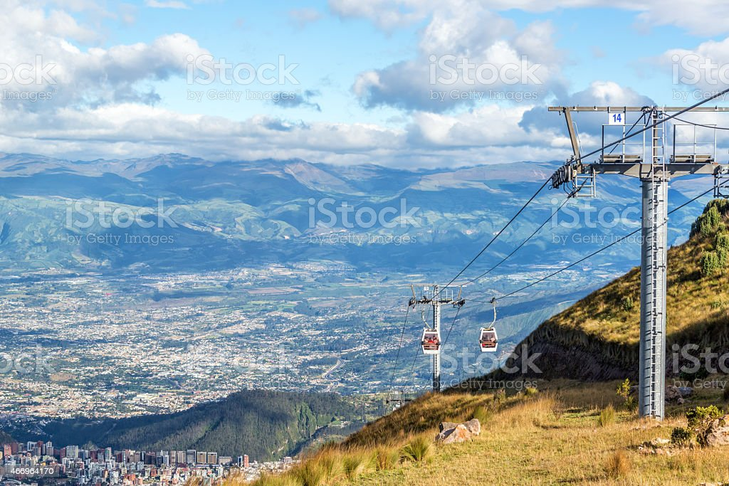 Gondola Rising from Quito stock photo