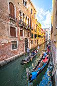 The view of Grand Canal from Rialto Bridge in Venice