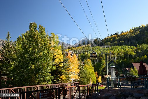 Telluride, USA - September 24, 2015. Gondola station at Mountain Village in Telluride, Colorado, USA. Gondola is a free public transportation system in Telluride which is a resort town surrounded by steep peaks of San Juan Mountains in the San Miguel County of southwestern Colorado and a popular tourist destination year-round, famous for its mountain scenery, art galleries, restaurants and top ranked ski facilities.