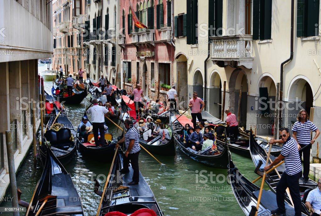 Gondola traffic jam in Venice stock photo