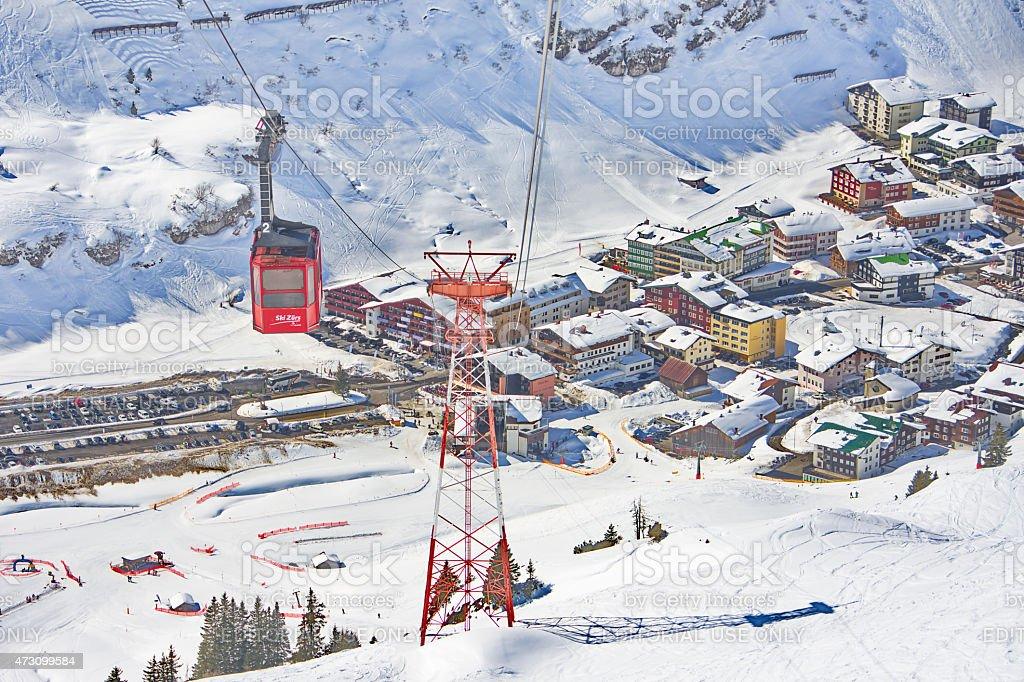 Gondola/cable car in Lech - Zurs ski resort, Austria stock photo