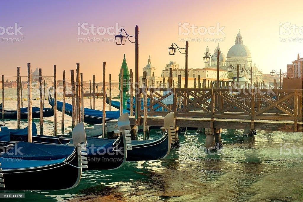 Gondolas and basilica stock photo