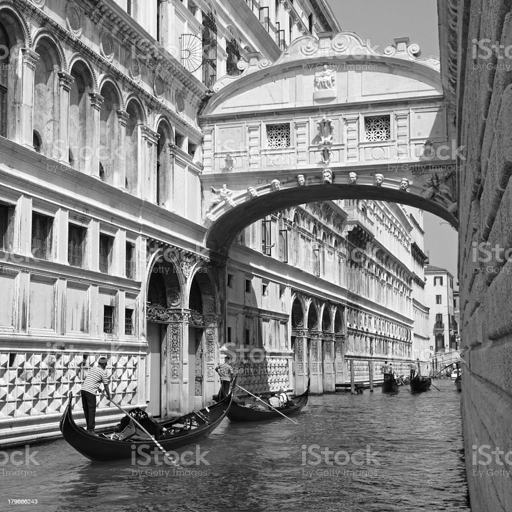 Gondolas and Bridge of Sighs in Venice royalty-free stock photo