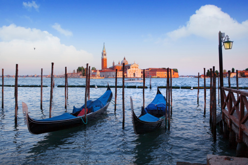 Gondolas and San Giorgio Maggiore church in Venice