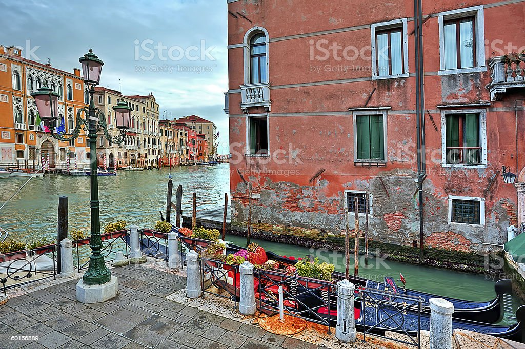 Gondolas and traditional architecture in Venice, Italy. royalty-free stock photo