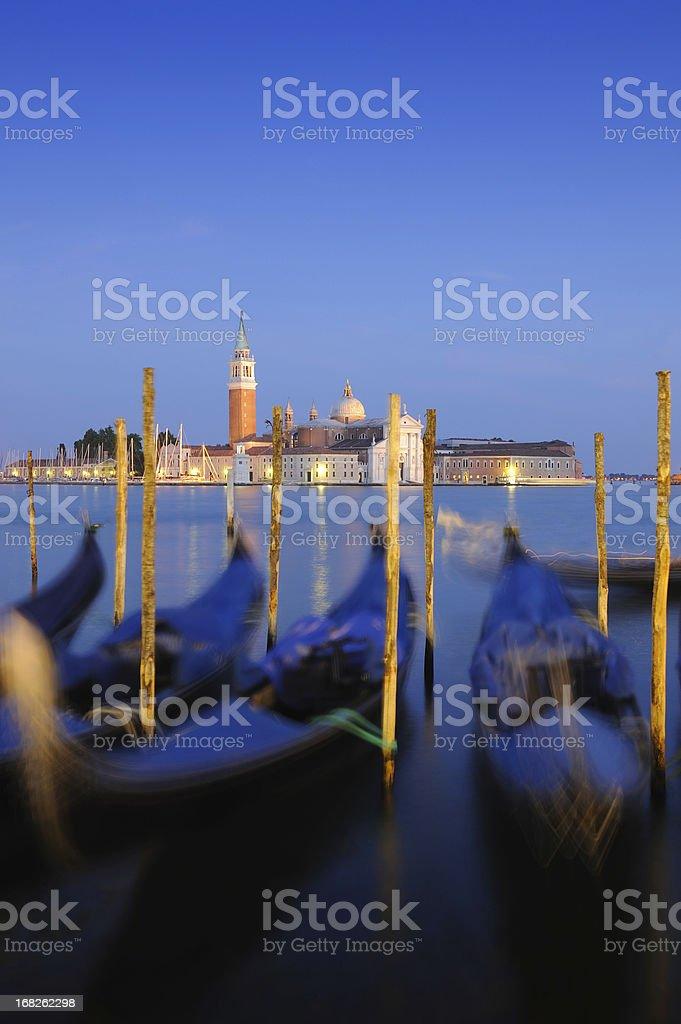 Gondolas at dusk, Venice, Italy royalty-free stock photo