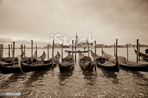 This is a wide angle image of the Gondola stations at San Marco Square in Venice, Italy.