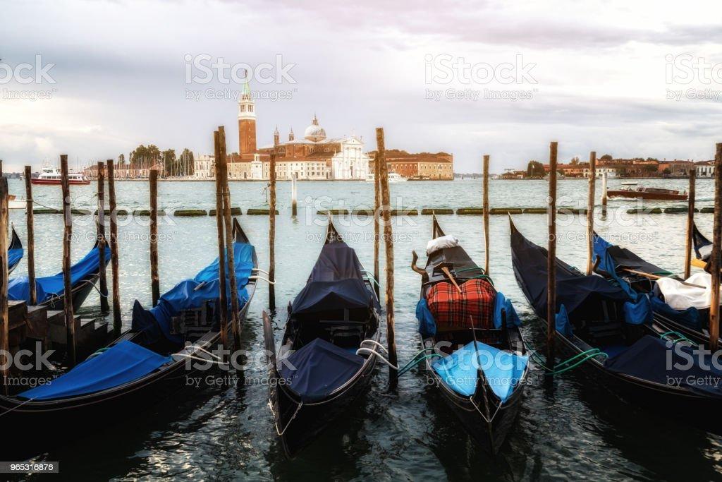Gondolas at St. Mark's Square in Venice - Italy royalty-free stock photo