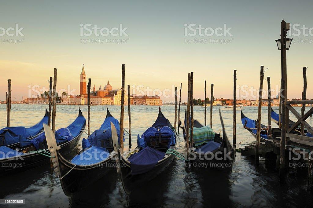 Gondolas at Sunset, Venice, Italy royalty-free stock photo