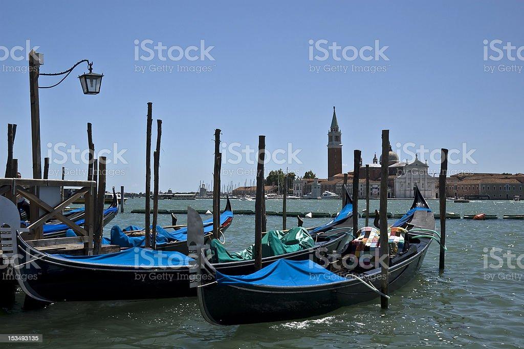 Gondolas at the Lagoon, Venice, Italy royalty-free stock photo