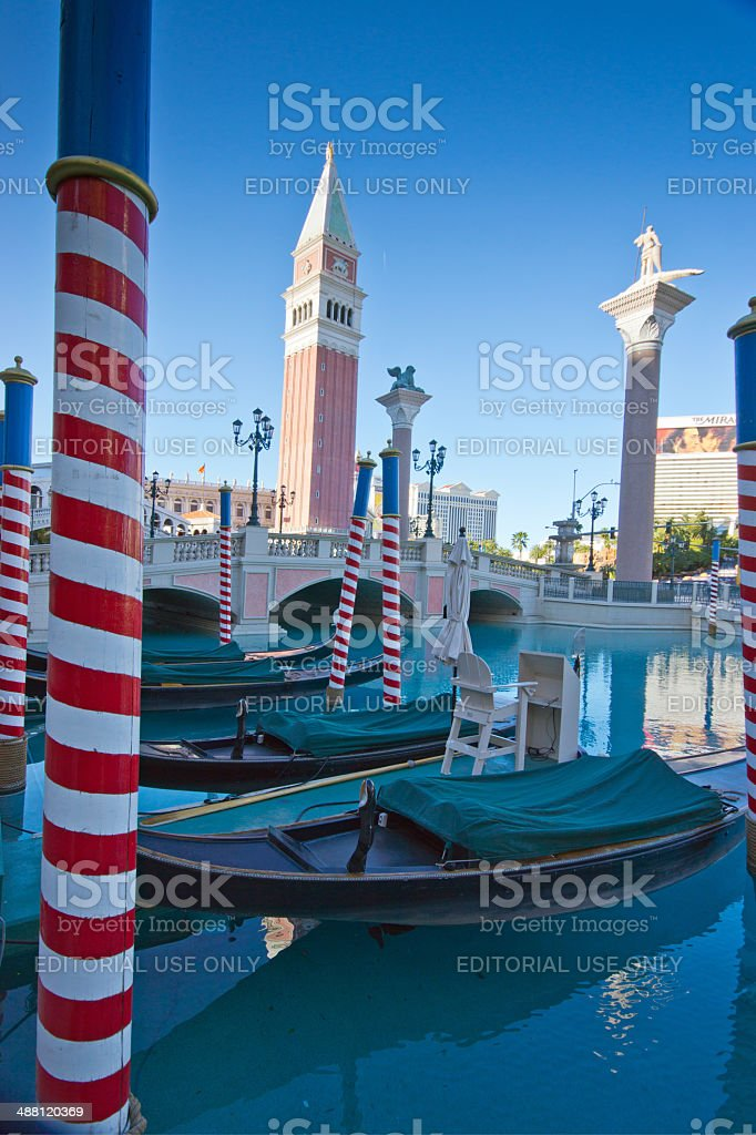 Gondolas at Venice hotel Las Vegas royalty-free stock photo