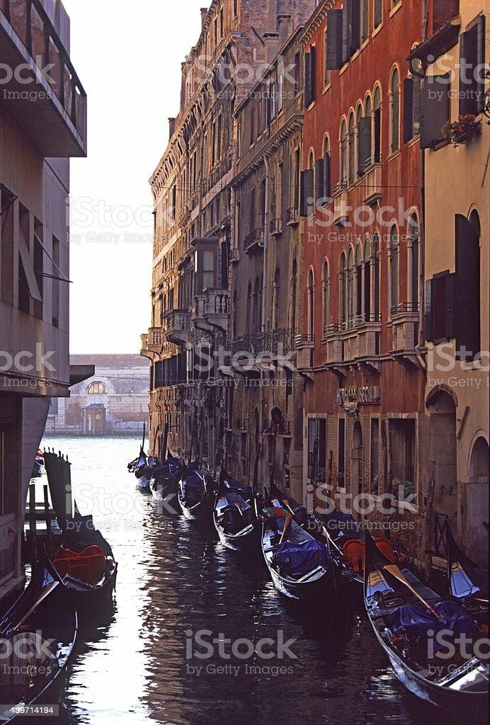 Gondolas by Grand Canal 1 royalty-free stock photo