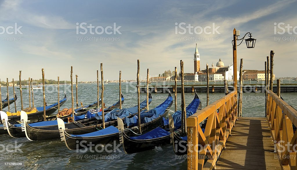 Gondolas by Grand Canal Venice royalty-free stock photo