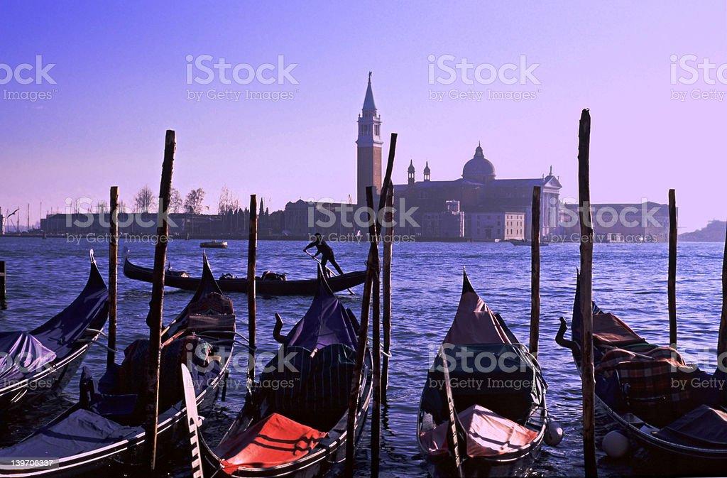 Gondolas by Saint Georgio royalty-free stock photo