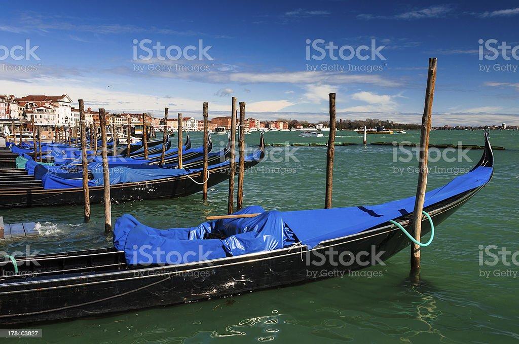 Gondolas docked in Piazza San Marco, Venice royalty-free stock photo