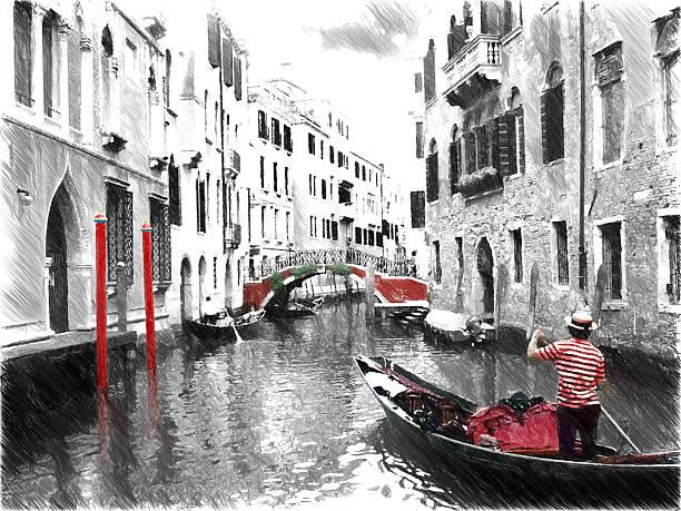 gondolas, gondolier on venice. digital illustration in draw - italy poster bildbanksfoton och bilder