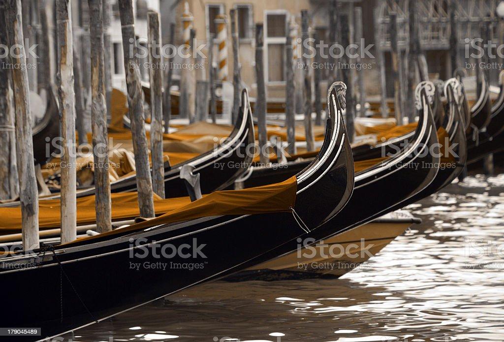 Gondolas, Grand Canal in Venice royalty-free stock photo
