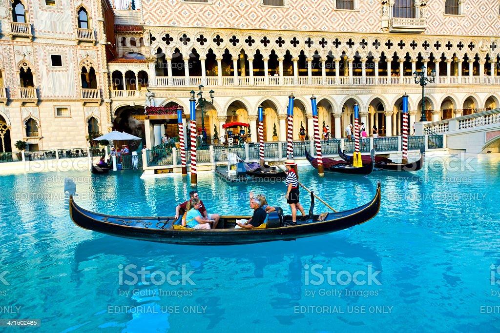 Gondolas in front of the Venetian Resort Hotel Casino royalty-free stock photo