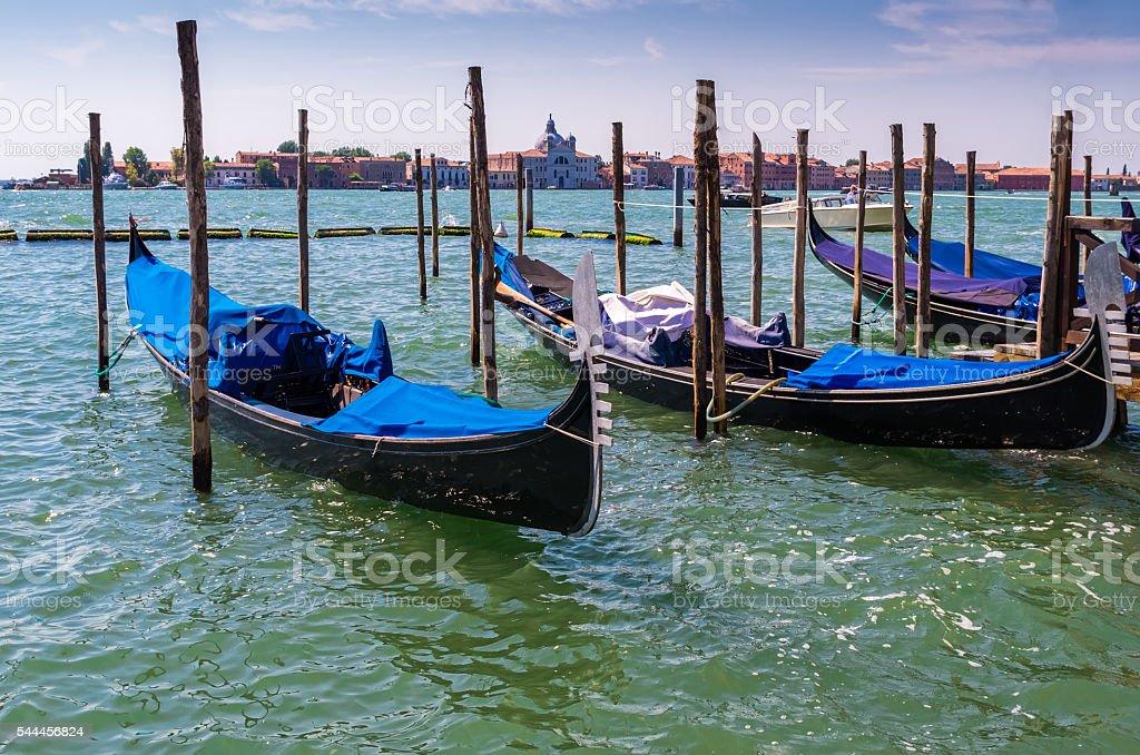 Gondolas in lagoon of Venice, Italy stock photo