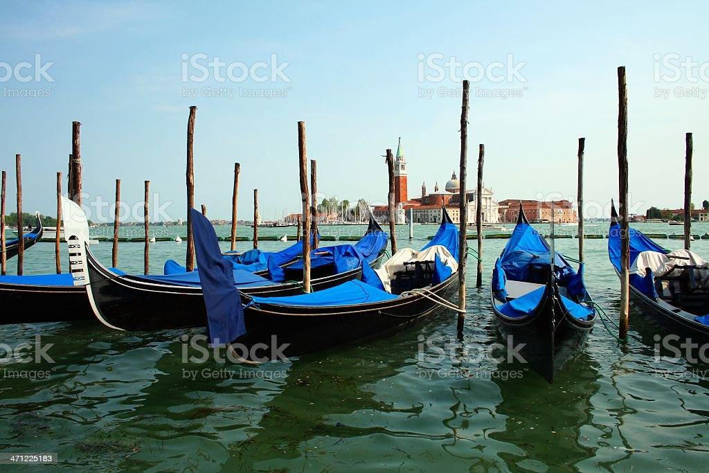 Gondolas in the lagoon stock photo