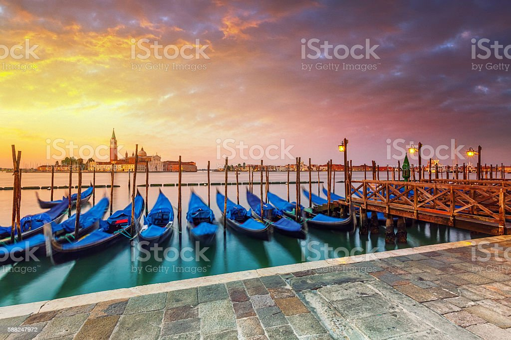 Gondolas in Venice at surise stock photo