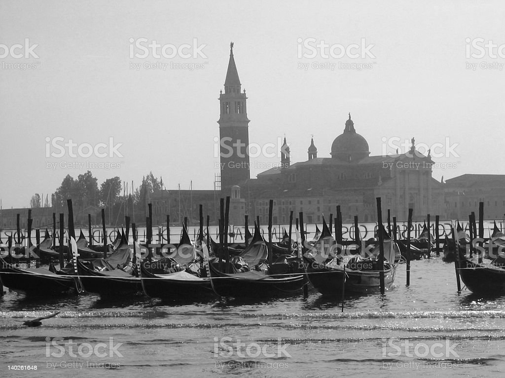 Gondolas in Venice - black and white royalty-free stock photo