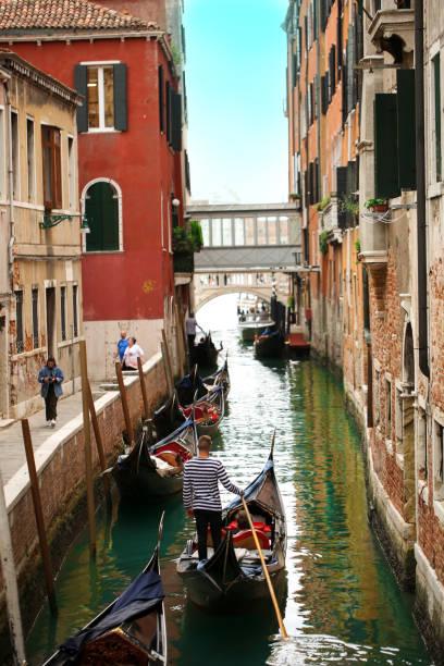 Gondolas in Venice Italy stock photo