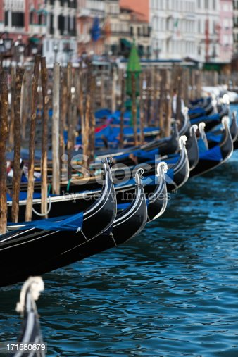 Front of several gondolas at Markus Place - Venice.