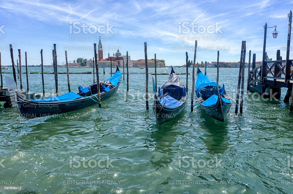 Gondolas moored on the Grand canal Venice stock photo