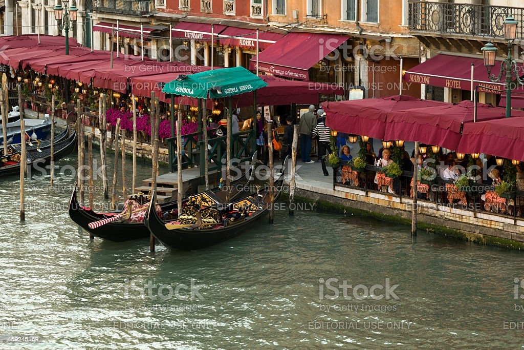 Gondolas near cafe royalty-free stock photo