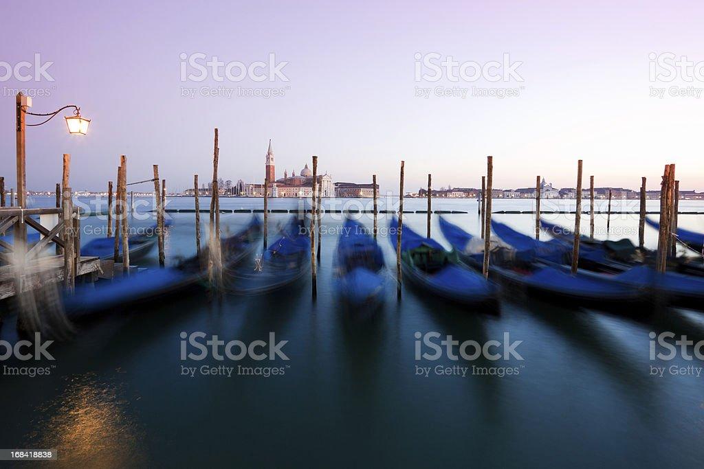 Gondolas of Venice at Sunset, Italy royalty-free stock photo