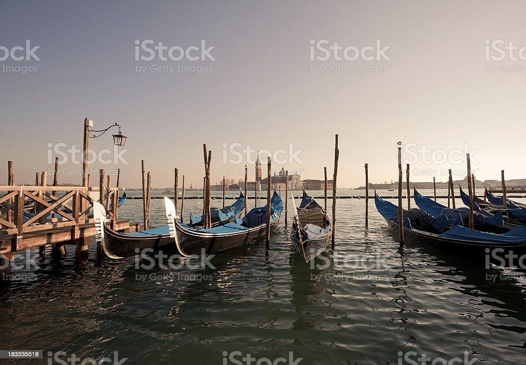 Gondolas of Venice in Saint Mark's Square, Veneto, Italy royalty-free stock photo